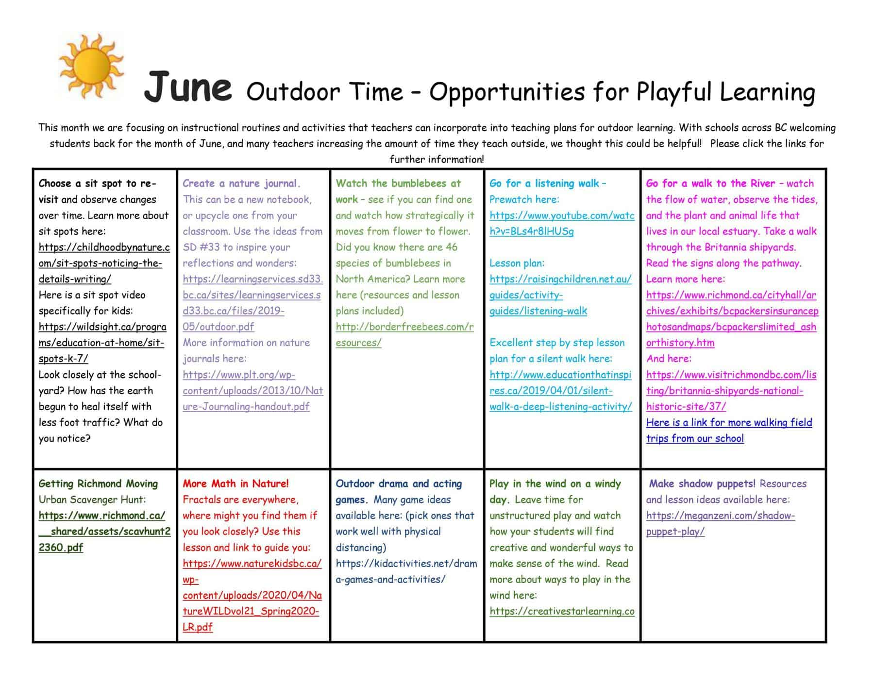 playful learning outdoors in June